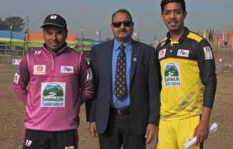 Both teams captain (Province 1 Pushpa Thapa and Province 5 Krishna Karki) with Match Referee Sameer Khan