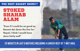 Shahab Alam bowling for Tribhuvan Army Club